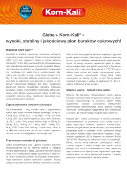Gleba + Korn-Kali® = wysoki, stabilny i