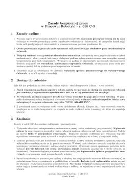 Zasady bezpiecznej pracy w Pracowni Robotyki - s. 010 C
