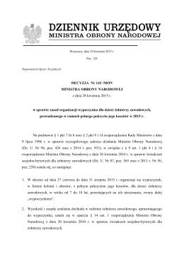 DECYZJA Nr 142 /MON MINISTRA OBRONY NARODOWEJ z dnia