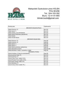 Małopolski Dystrybutor piwa HOLBA PHU BOZBI Tel.: 504183392