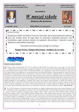 Biuletyn nr 1, 2015/16 - Szkoła św. Teresy i Gimnazjum św