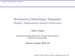 Wykład 3 - Politechnika Warszawska