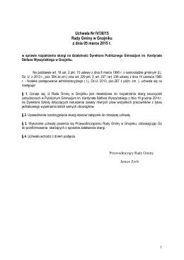 Uchwała Nr IV/38/15 Rady Gminy w Gnojniku z dnia 05 marca 2015 r.