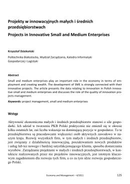 Projekty w innowacyjnych małych i średnich przedsiębiorstwach
