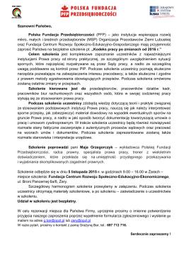 Szanowni Państwo, Polska Fundacja Przedsiębiorczości (PFP