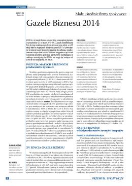 Gazele Biznesu 2014. Małe i średnie firmy