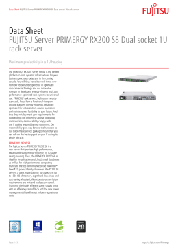 Data Sheet FUJITSU Server PRIMERGY RX200 S8 Dual socket 1U