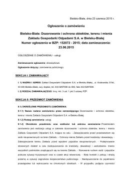 Ogłoszenie o zamówieniu z dnia 23.06.2015 r.