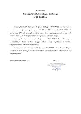 Komunikat KKPS PKP CARGO S.A. w wyników referendum