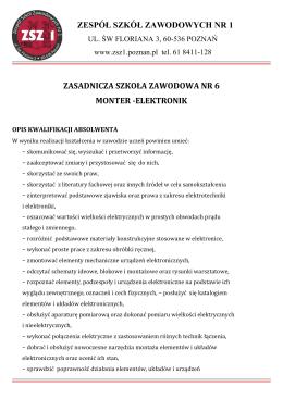 Monter elektronik ZSZ Nr 1 - Zespół Szkół Zawodowych Nr 1