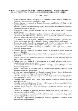 lista tematów z języka polskiego – rok szkolny 2014/2015