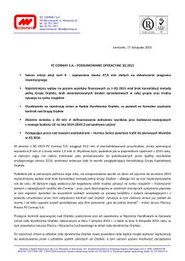 pz cormay s.a.- podsumowanie operacyjne 3q 2015