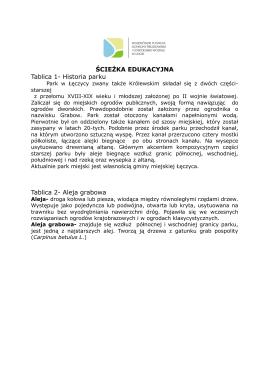 ŚCIEŻKA EDUKACYJNA Tablica 1- Historia parku Tablica 2