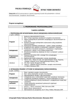 Program kursu Zarządca Nieruchomości.