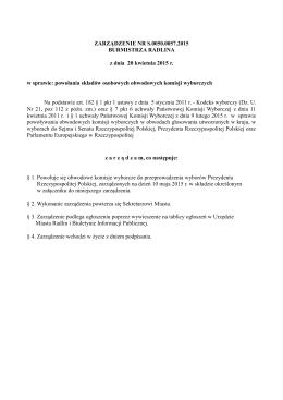 Zarządzenie Burmistrza Radlina z dnia 20 kwietnia 2015 r.