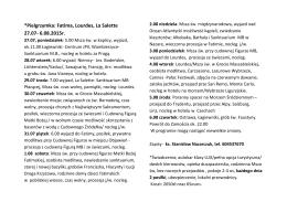 *Pielgrzymka: Fatima, Lourdes, La Salette 27.07