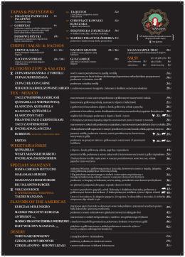 wegetariańskie chipsy / salsy/ & nachos el otoño zupy & sałatki