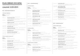PLAN OBRAD XVII OZSA czwartek 14.05.2015