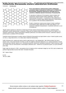 Politechnika Warszawska otwiera Laboratorium Grafenowe