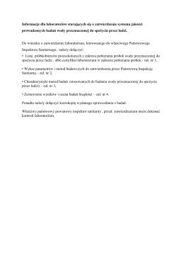 Zatwierdzanie laboratoriów badających wodę.plik pdf.