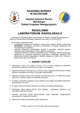 Regulamin laboratorium - Inżynieria Ruchu Morskiego