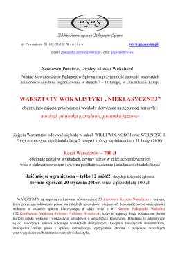 Warsztaty Wokalistyki Nieklasycznej – Duszniki 2016
