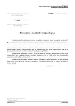 Oświadczenie o samodzielnym napisaniu pracy