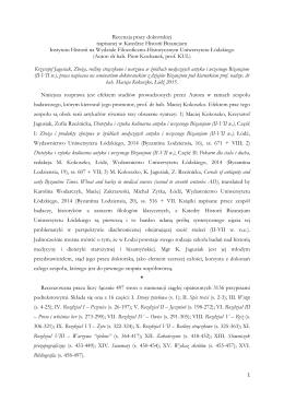 Recenzja pracy doktorskiej napisanej w Katedrze Historii Bizancjum