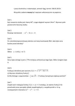 I praca kontrolna z matematyki, semestr 6pg, termin: 08.03.2013r