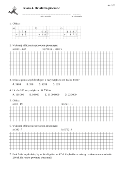 Klasówka nr 3 klasa 4a 2015/2016 przykładowe