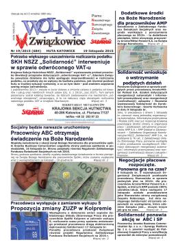 Niezależnego Samorządnego Związku Zawodowego Nr 19/2015