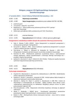 Wstępny program VIII Ogólnopolskiego Sympozjum