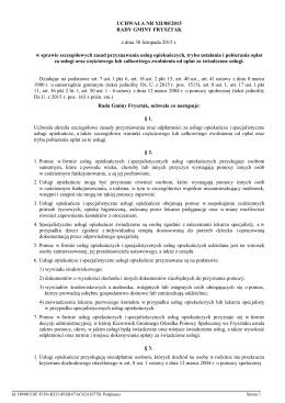 Nr XII/88/2015 z dnia 30.11.2015 r. w sprawie szczegółowych zasad