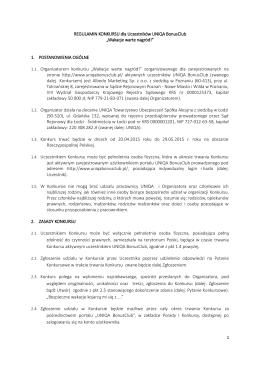 REGULAMIN KONKURSU dla Uczestników UNIQA BonusClub