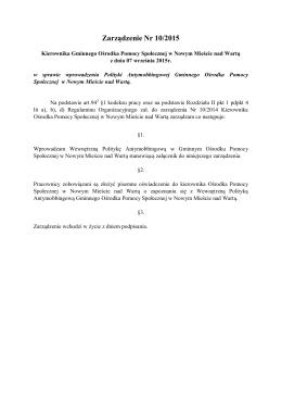 Zarządzenie Nr 10/2015 - Ośrodek Pomocy Społecznej Nowe