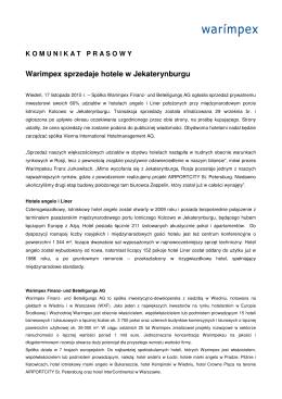 Warimpex sprzedaje hotele w Jekaterynburgu