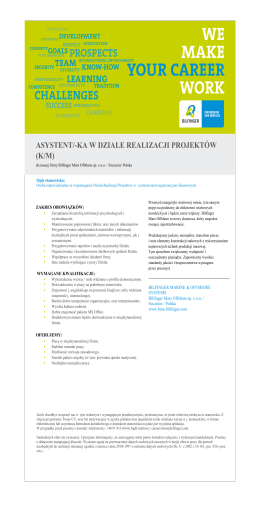 asystent/-ka w dziale realizacji projektów