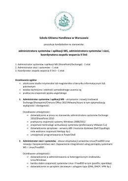 Szkoła Główna Handlowa w Warszawie administratora systemów i