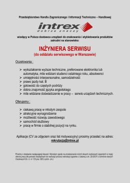 Inżynier Serwisu (oddział serwisowy w Warszawie)
