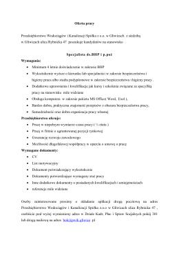 Oferta pracy Przedsiębiorstwo Wodociągów i Kanalizacji