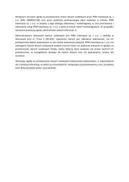 Klauzula o przetwarzaniu danych osobowych