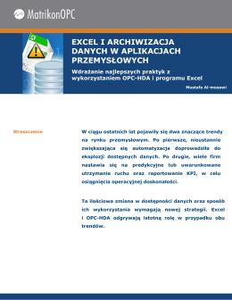 Excel i archiwizacja danych w aplikacjach przemysłowych