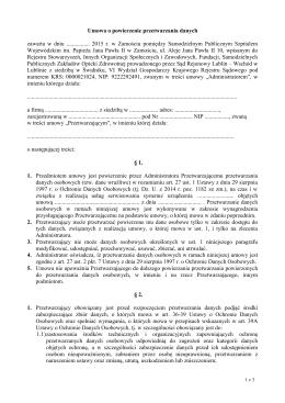 Umowa o powierzenie przetwarzania danych