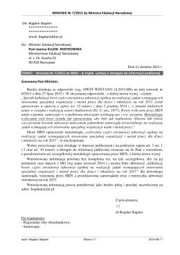 WNIOSEK Nr 7/2015 do Ministra Edukacji Narodowej Od