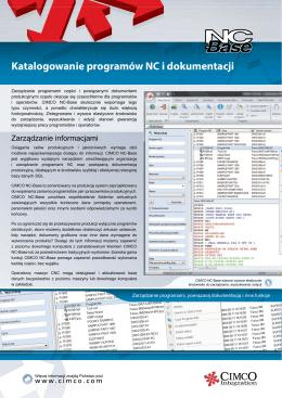 Katalogowanie programów NC i dokumentacji