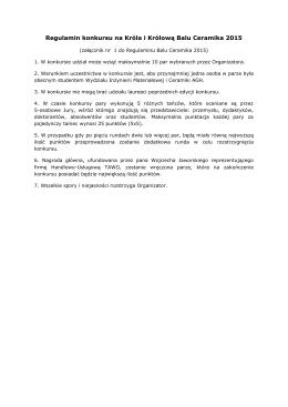 zał. 1 Regulamin konkursu na Króla i Królową Balu Ceramika 2015