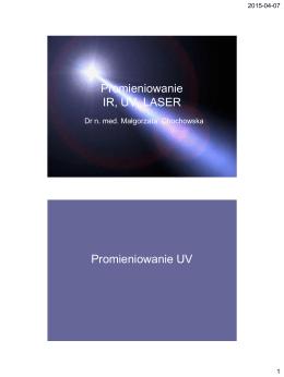 Promieniowanie IR, UV, LASER