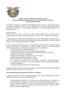 Zasady rekrutacji kandydatów do klas pierwszych II Liceum