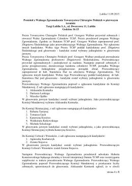 Protokół Walne Zgromadzenie - Towarzystwo Chirurgów Polskich
