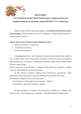 Sprawozdanie z XIV Konkursu Poezji i Pieśni Patriotycznej o